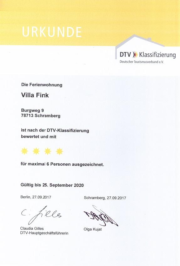 DTV 4-Sterne Urkunde klein 2017-2020